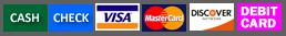 payment methods accepted by CDR Disposal - cash, check, visa, mastercard, discover, amex